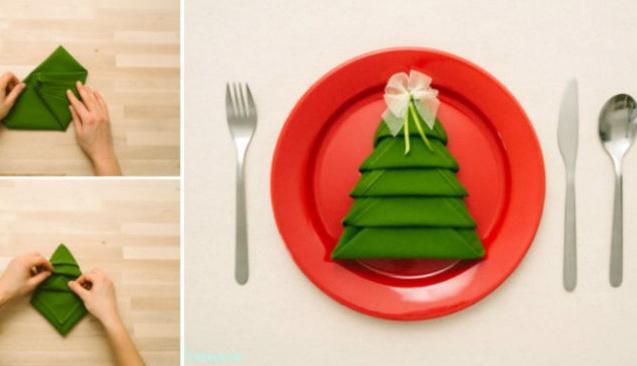 Çam ağacı şeklinde peçetenizi kendiniz yapın!