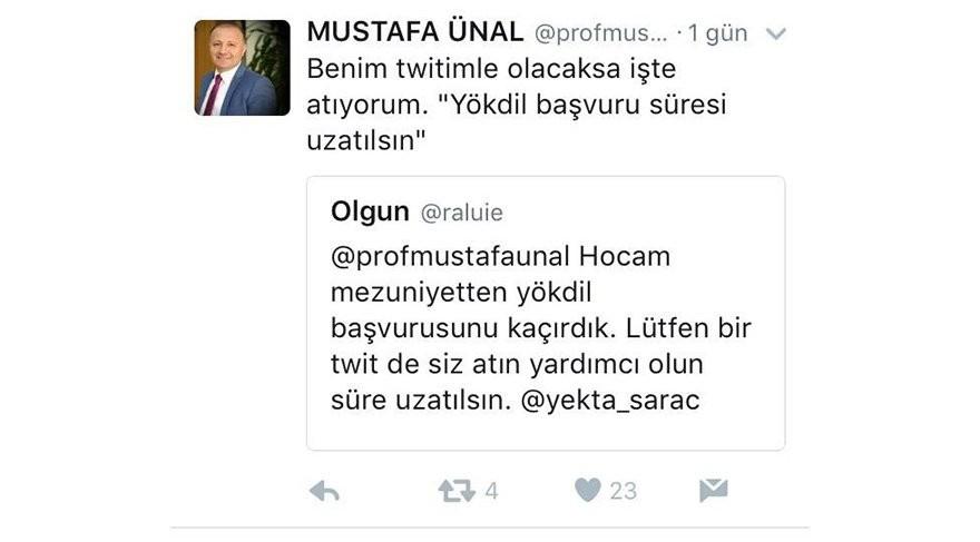 Rektör Mustafa Ünal'ın Twitter üzerinden verdiği müthiş cevaplar :)